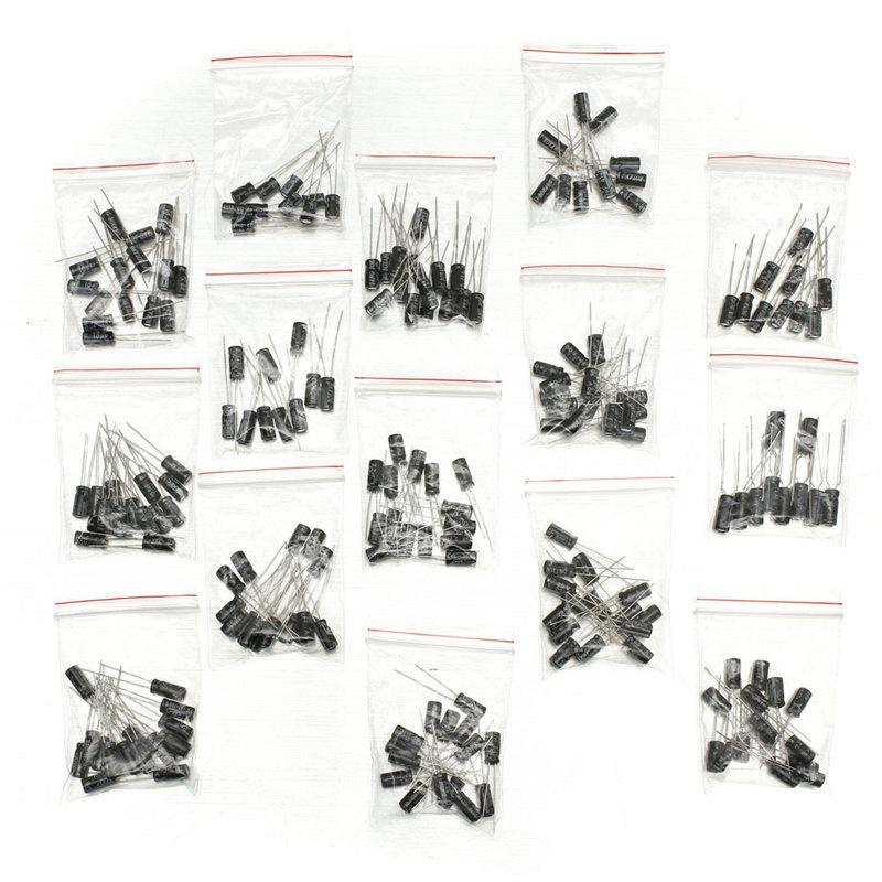 Best Promotion 400Pcs/lot 15 Values Electrolytic Capacitor Assortment Kit 1uF~220uF Capacitors Assorted Set on sale
