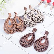 Brincos de lágrima de madeira natural popular oco personalidade estilo simples moda brincos de madeira jóias para a mulher meninas festa