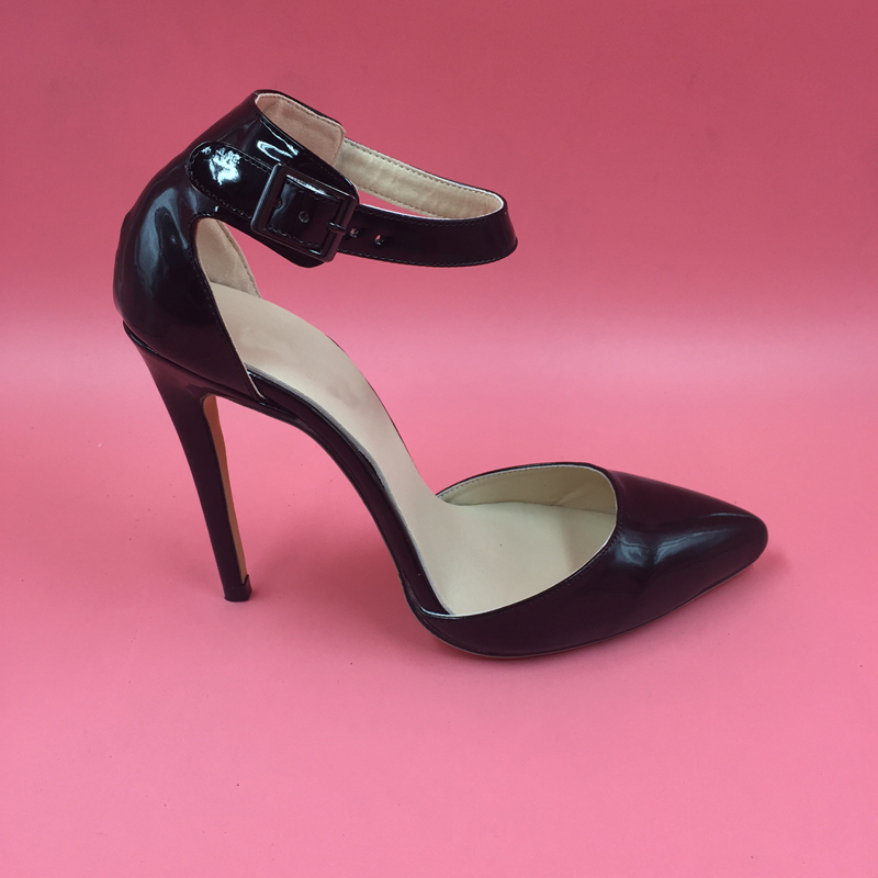 D'orsay Black Patent Leather Two Piece Pointed Toe Pumps Ankle Strap Stilettos High Heels Ladies Shoes Spring Style Pumps lf30104 show story punk green gold high heels stilettos pumps with ankle strap sandal