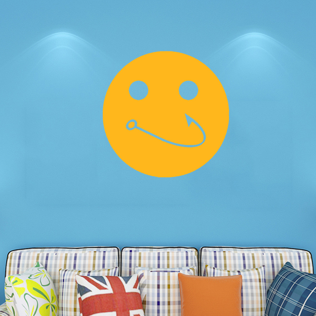 Fishhook Fish Hook Fishing Smile Mouth Funny Graphic Wall Sticker ...