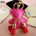 JINSE Multicolor Cute Teddy Bear Leather Keychain Animal Key Chain Car Key Ring Women Bag Pendant