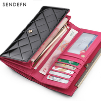 Hot Sale Cow Genuine Leather Purse Elegant Lady Clutch Women Wallet Card Holder Brand Wallet Carteira