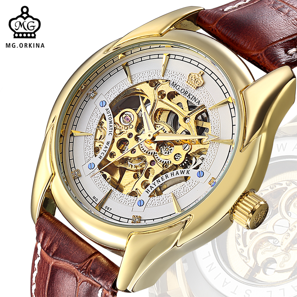 MG. ORKINA Golden Engraved Skeleton Wristwatch Brown Leather Strap Mens Watches Top Brand Luxury Mechanical Male Wrist Watch mens mechanical watches top brand luxury watch fashion design black golden watches leather strap skeleton watch with gift box