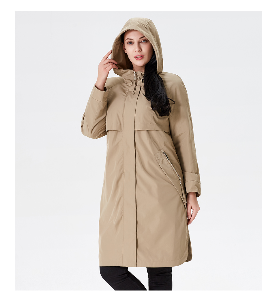 19 Trench Coat Spring And Autumn Women Causal coat Long Sleeve With Hood Solid color female moda muje High Quality new AS-9046 11