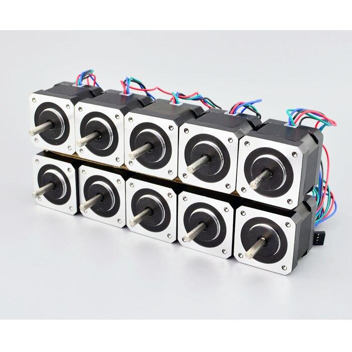 10PCS Nema 17 Stepper Motor 45Ncm (64oz.in) 2A 4-Wire 1m Cable & Connector(17HS16-2004S1) For DIY 3D Printer CNC Robot