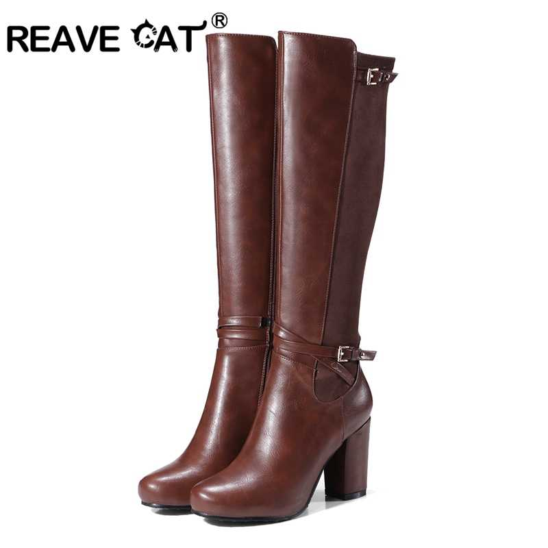 REAVE CAT Women knee-high boots Stretch Back Winter warm Round toe Fashion  botas Quality 6d82b82dac90