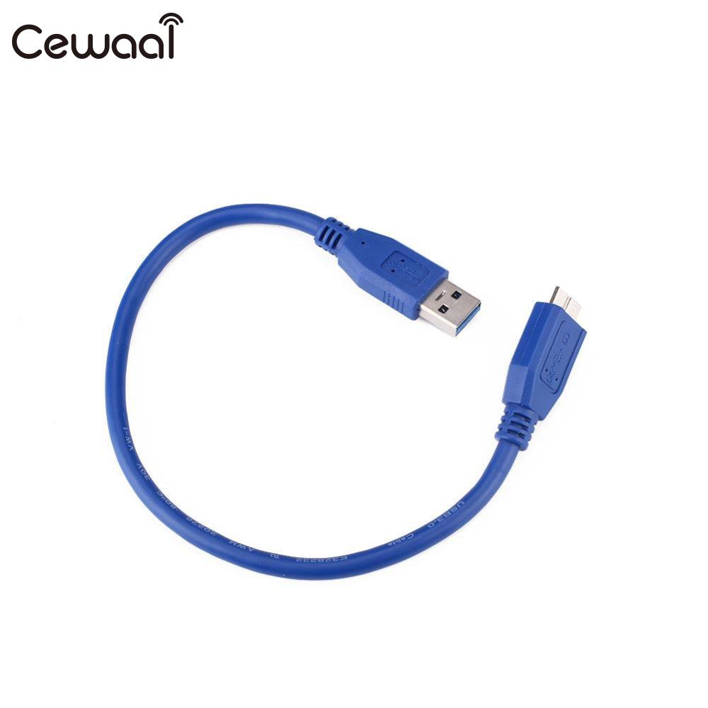 Cewaal 0.3m 0.5 1m 1.5m USB 3.0 A To Micro B Cable External Hard Drive Disk Wire Adapter High Speed Blue