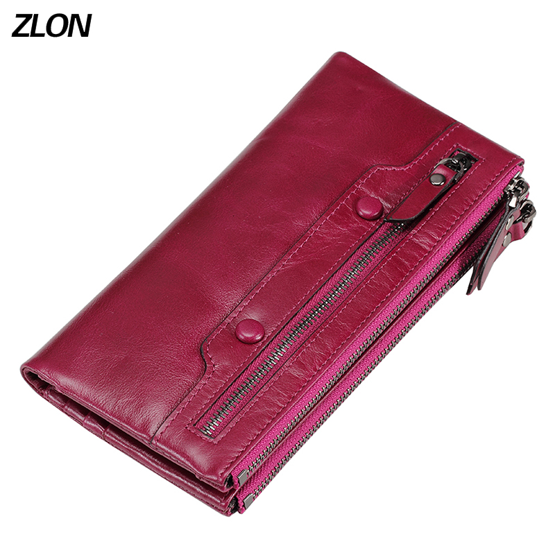 ZLON Women's Double Zipper Wallets 100% Oil Wax Leather Ladies Purses Coin Pocket Long Wallet Phone Clutch Bag For Women Q359 brand double layer zipper wallet phone bag purses women money bag high quality waterproof nylon clutches coin pocket