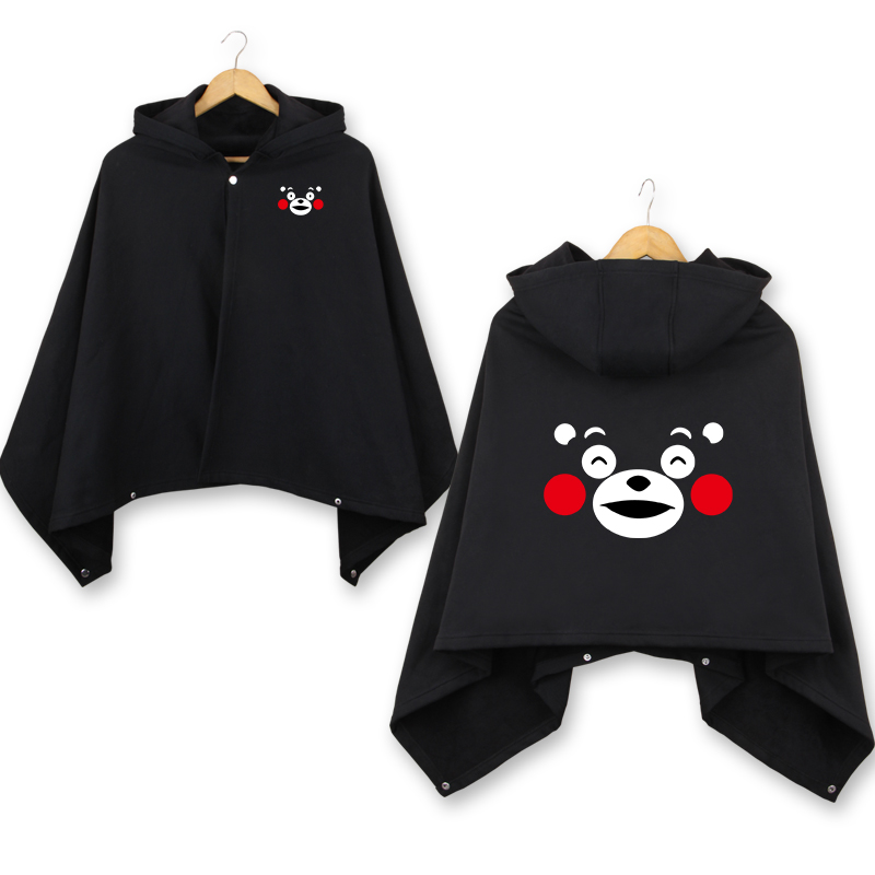 2018 winter cute Kumamon Bear cloak warm fleece casual coats men women funny Kumamon Bear black thicken hooded cloaks