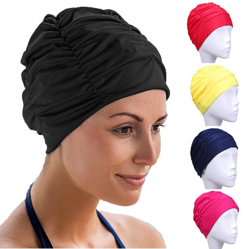 a0c42fbda Cabelos longos Esportes Piscina Nadar Chapéu Turbante de Nylon Elástico para  Homens   Das Mulheres tamanho