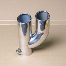 Универсальный автомобильный хромированный двойной глушитель выхлопной трубы наконечник глушителя на входе 64 мм [QP1049]