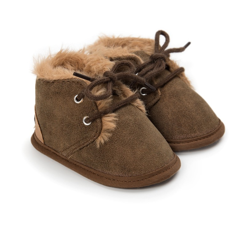 2017 Autumn Winter Warm Snow Boots Baby Shoes Solid Lacing Active Children Shoes Comfortable Kids Shoes