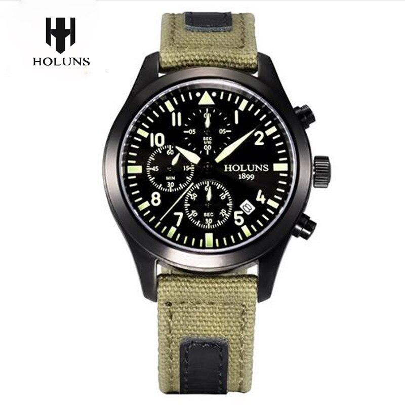 HOLUNS Mens Sport Luminous Quartz Wrist Watch Fabric Canvas Chronograph Military