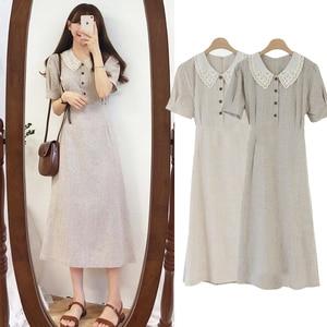 Image 2 - Đầm Vintage Hot Bán Hàng Người Phụ Nữ Mùa Hè Dễ Thương Ngọt Nhật Bản Hàn Quốc Cách học Peter Pan có Cổ Áo Sơ Mi Nút Áo Retro 6918