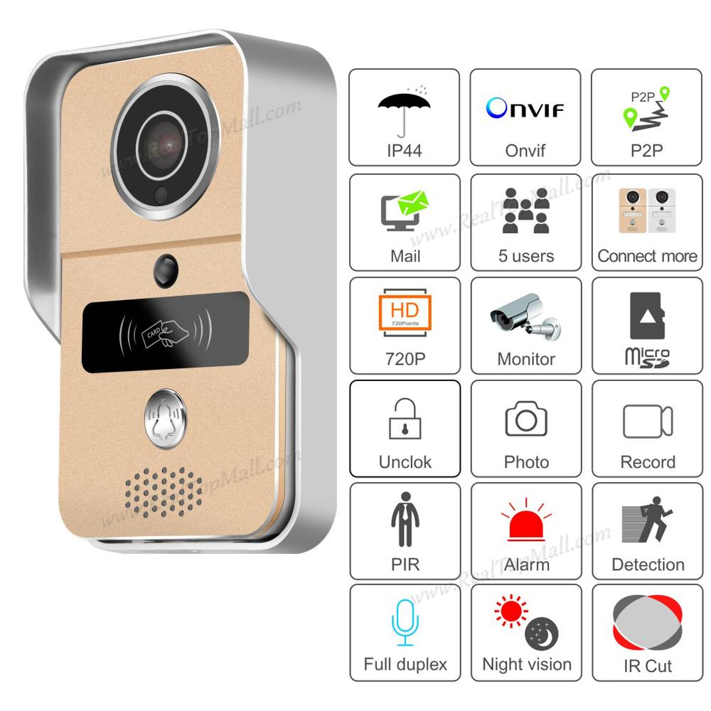 Wifi video door phone doorbell Wireless Intercom Support IOS Android RFID Keyfob Access Video Door Phone Intercom+Bell free shippping rfid access wireless lan wifi video door phone intercom metal outdoor bell camera for android ios phone tablet