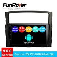 FUNROVER 2.5D+IPS android 9.0 car dvd multimedia player For Mitsubishi Pajero V97 V93 2006 2015 radio gps navigation stereo DSP