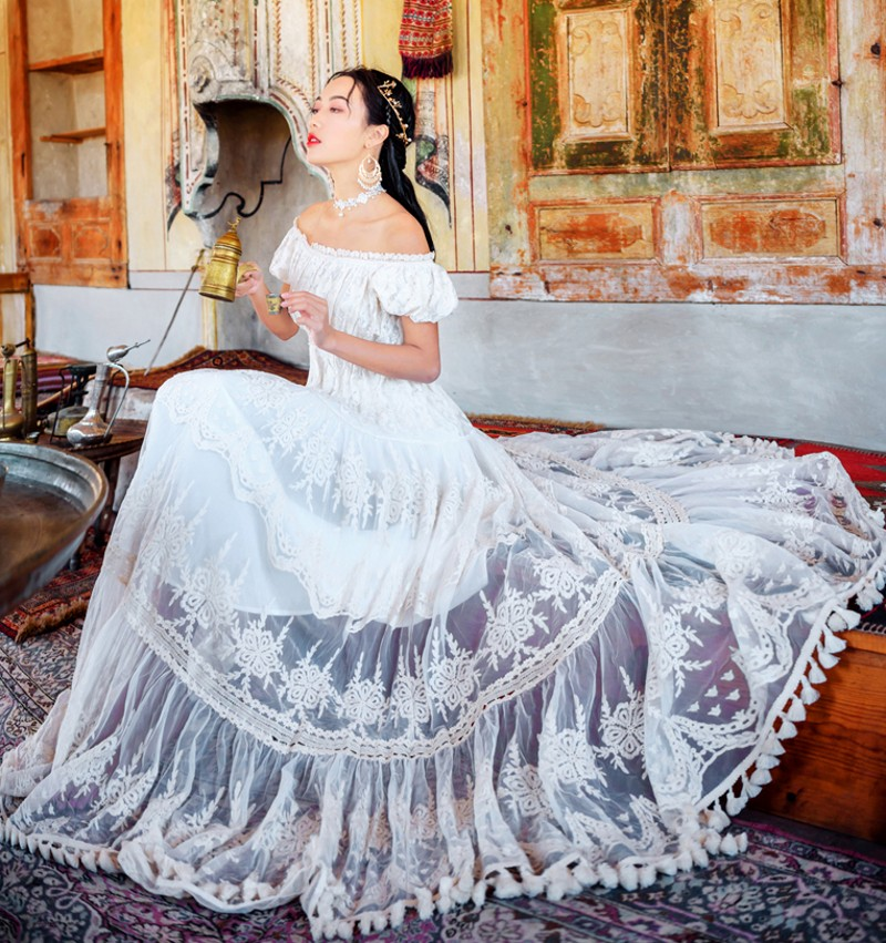 2019 été maille dentelle broderie vacances grand Swing longue robe femmes décontracté hors de l'épaule blanc longues robes Vestidos - 3