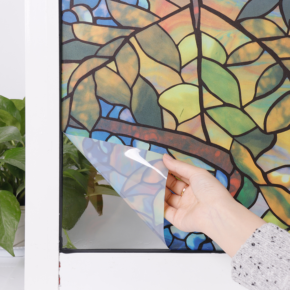 HOHOFILM 92cm*300cm 3D Static Cling Frosted Floral Window Film Glass Sticker Privacy Window Film Home Decor 36''x118''