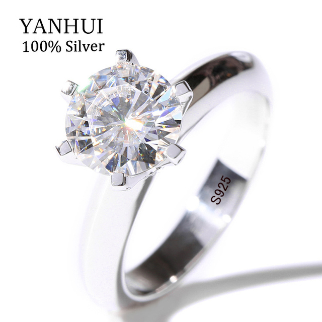 Luxury Solid Silver Wedding Rings Brand Jewelry Top Sona Stone 7mm Cz Ring 925 Sterling