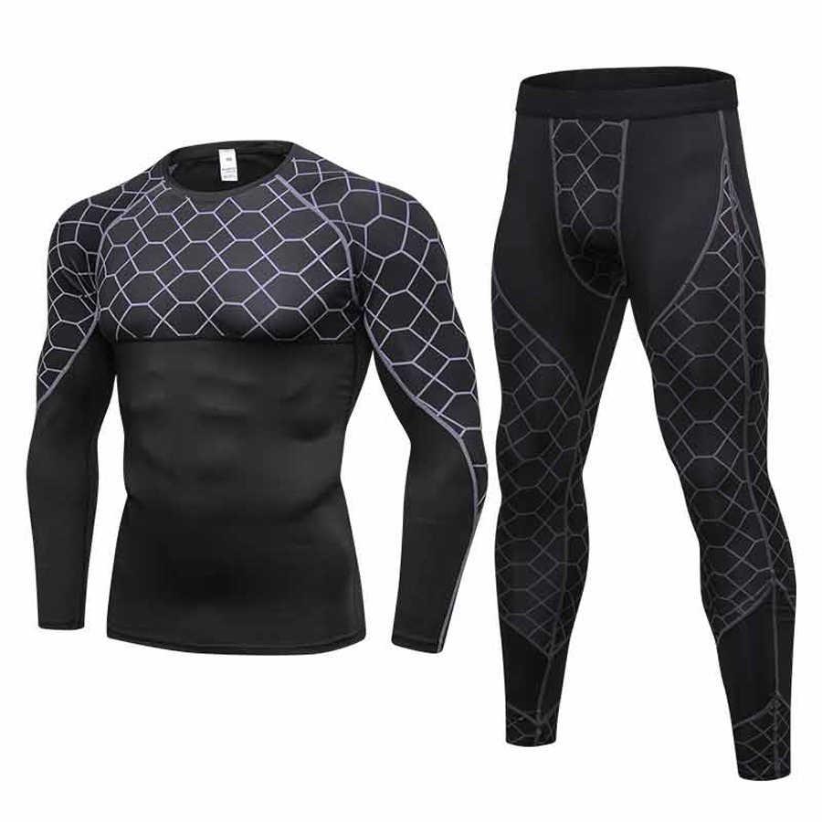 Schweiß Anzug Kleidungsstück bodybuilding Anzüge Lauf sets Fitness Yoga Sets Kompression Rashguard Athlet Trainingsanzüge Sport Set für Männer