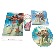 61pcs/lot Girls Kid Favors Events Tableware Set Moana Theme Decoration Tablecloth Birthday Party Cups Plates Baby Shower Napkins
