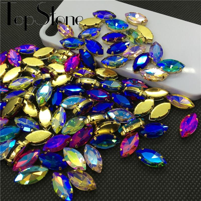 TopStone Barve AB Konjsko oko prišiti na stekleni kristalni navette - Umetnost, obrt in šivanje