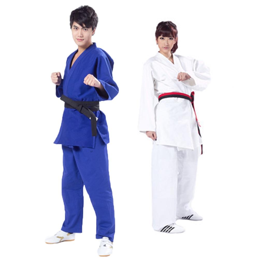 Brezilya Jiu Jitsu Gi BJJ Gençlik Kenpo Karate Üniforma Erkekler Kadınlar Çocuklar için Dobok Erkek Taekwondo ITF Beyaz Mavi Yetişkin judo Çocuk title=