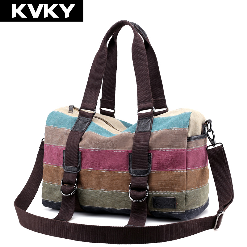 KVKY Brand Vintage Women Patchwork Canvas Handbags Casual Shoulder Bags Big Shopping Stripe Rainbow Travel Messenger bags bolsas kvky vintage canvas women handbags large capacity patchwork casual female shoulder bags brand messenger bag totes bolsa feminina