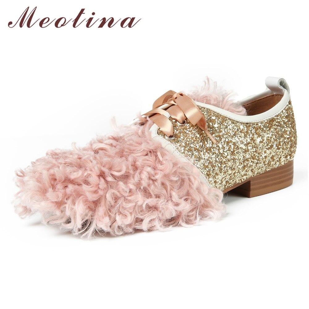 Bout Appartements Casual Noir Chaussures Glitter rose Meotina 9 33 Plat Rond À Rose Printemps 40 Dames Femmes Fourrure Bling Laine Lacets Taille pqMUSzV
