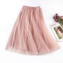 2019 New Summer High Waist Pleated Midi Skirt Solid Color Mesh Skirt Women Korean Basic A-Line Tulle Skirts faldas saias jupe stylish high waisted solid color a line midi skirt for women