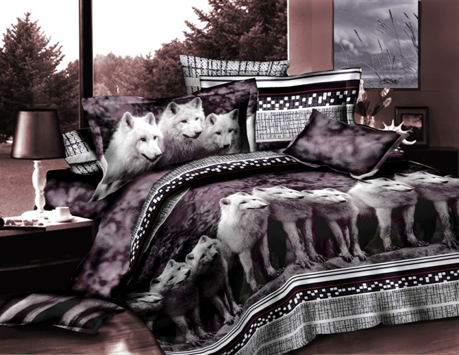 Wolf Bedding Set Animal Print Queen Size Duvet Cover Bed