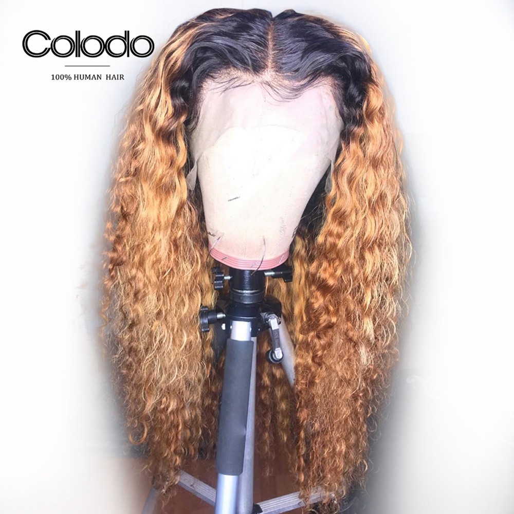 Brazilian Water Wave Hair Ombre Human Hair Colored Wigs 1B 27 Honey Blonde Lace Front Wig
