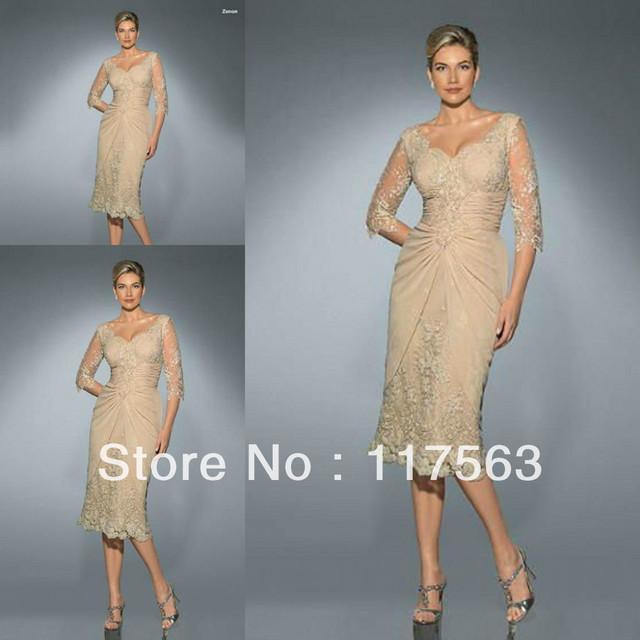 Gracioso v applique pescoço rendas manga meio comprimento chá curto mãe do vestido da noiva MQ038
