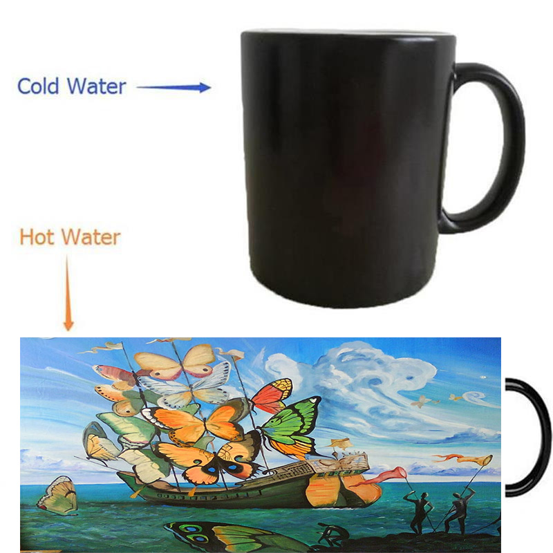 Salvador Dali Surrealism Mugs Morphing Coffee Mug Heat Reveal Sensitive Magical Cup Reactived Wine Cups In From Home Garden On