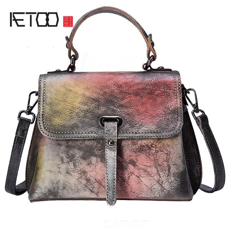 AETOO 2018 new Trend bag handbags first layer leather retro rub color fashion simple shoulder bag casual handbag aetoo the new retro leather fashion trend shoulder bag leather hand rub color women bag college wind korean version of the backp