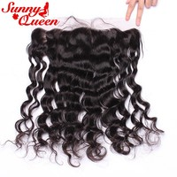 Loose Wave 13X6 Lace Frontal Closure Pre Plucked With Baby Hair 100% Human Remy Hair Bleached Knots SunnyQueen Hair Products