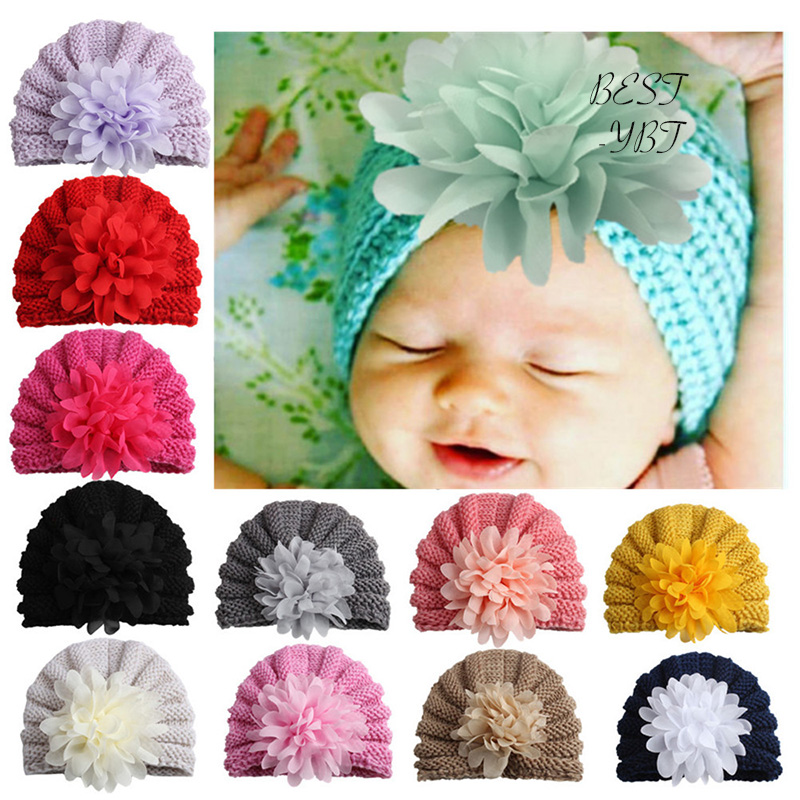 European American Style Winter And Autumn Warm Lovely Girl's Solid Color Knitting Hat Tie With Big Flower