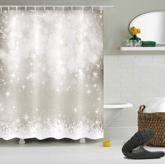 LB White Shower Curtains Flicker Christmas Silver Stars Luxury Snowflake Bathroom Curtain Fabric Polyester For Bathtub