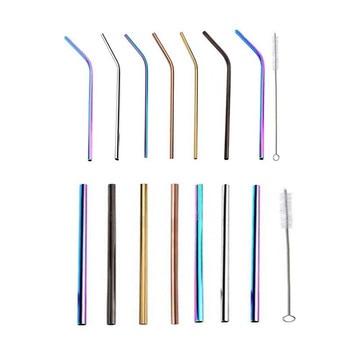 4 unids/pack de pajitas reutilizables de metal acero inoxidable 304 paja para bebidas robusta o vertical para tazas con cepillo de limpieza