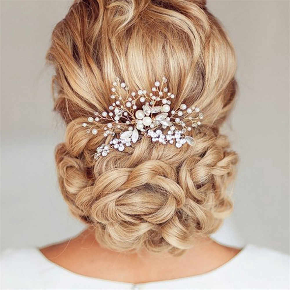 1PC Pearl Women Hair Combs Wedding Hair Accessories Hair Pin Rhinestone Tiara Clips Crystal Crown Bride Bridesmaid Hair Jewelry