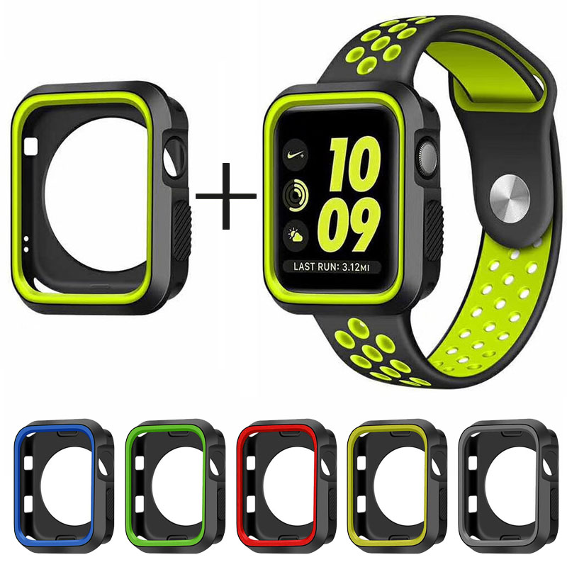 Silicone Case + Strap For Apple Watch Band 4 3 2 42mm 44mm Iwatch Band 38mm 40mm Wrist Bracelet Watch Case Strap Set Accessories