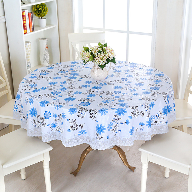Waterproof Wipe Clean Round PVC Vinyl Tablecloth Dining Kitchen Table Cover  Protector OILCLOTH VINYL FABRIC CR