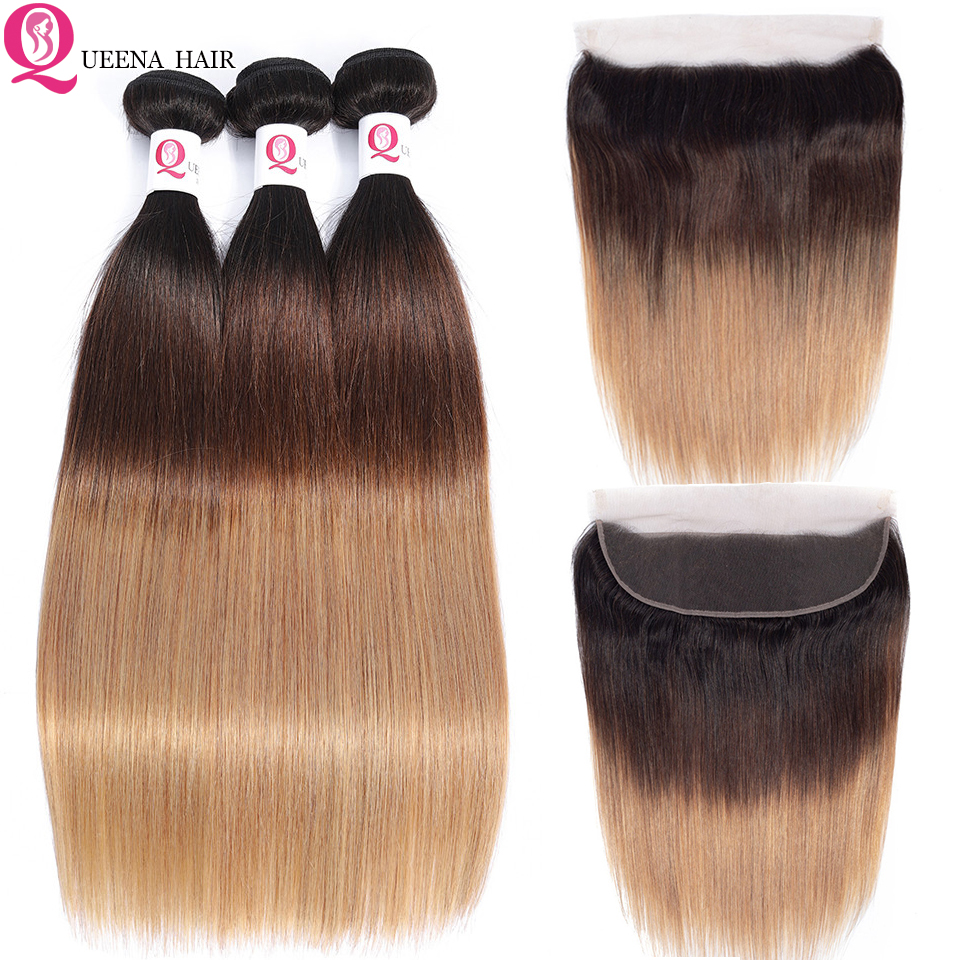 Brazillian Straight Hair Bundles With Lace Frontal 1B/4/27 Three Tone Remy Human Hair Ombre Bundles With Frontal Closure Colored