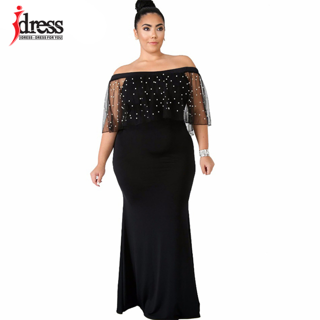 IDress 2018 Elegant Beaded Ruffles Mermaid Party Dresses Off Shoulder Mesh  Sleeve Bodycon Dress Plus Size Women Maxi Long Dress 4a701b9ec144
