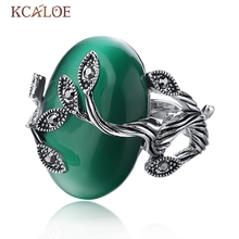 KCALOE Vintage Green Opal Ring Oval Natural Stone Rings For Women Retro Anillo Carved Luxury Crystal Rhinestone Bague Leaf Ring