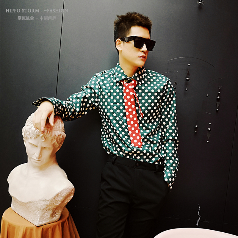 M-XXL!!!!Personality Green Polka Dot Long Sleeve Shirt Korean Slim Shirt Hair Stylist Nightclub Singer Casual Shirt.