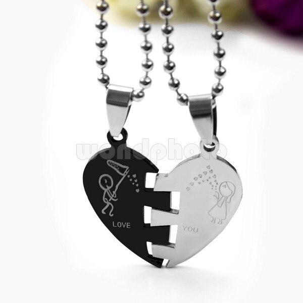 14bb87331 Con estilo 1 Par Hombres Mujeres Del Amor Del Corazón Diseño Amante Pareja  Collar Colgante Encanto