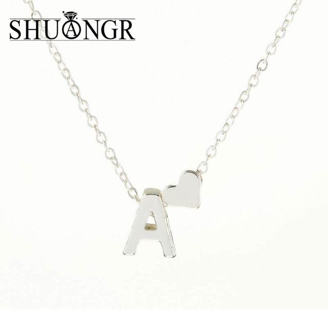 Shuangr tiny silver initial necklace silver letter necklace initials shuangr tiny silver initial necklace silver letter necklace initials name necklaces pendant for women girls aloadofball Images