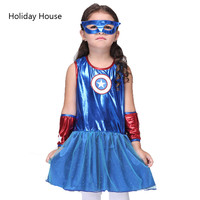3 8Y Girls Captain America Costume Dress Kids Superhero Blue Fancy Dress Child Disguise Masquerade Party