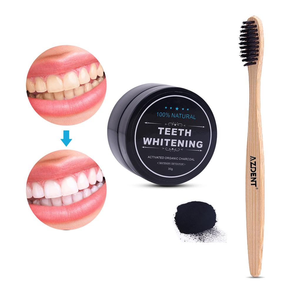 AZDENT 30g Activated Charcoal Powder Teeth Whitening Powder Set 1 Pcs Bamboo Charcoal Toothbrush Tooth Powder Toothpaste Adults